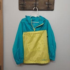 LL Bean bright rain jacket pocket hoodie coat